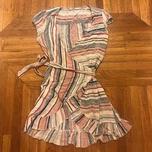 Free People Stripe Wrap Ruffle Dress